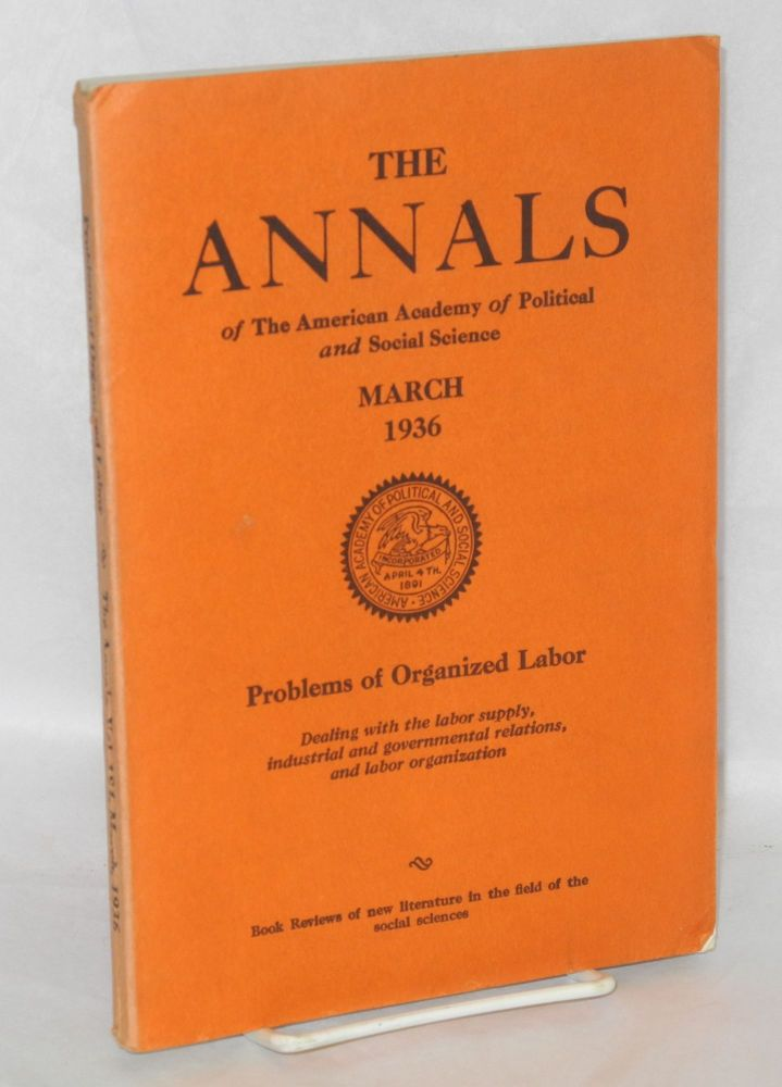 Problems of organized labor, dealing with the labor supply, industrial and governmental relations, and labor organization. Leon C. Marshall, ed.