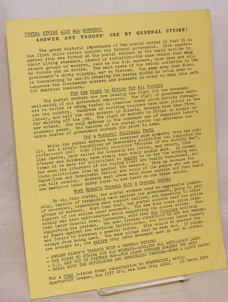 Postal strike aids all workers! Answer any troops' use by general strike! [handbill]. Spartacist League.