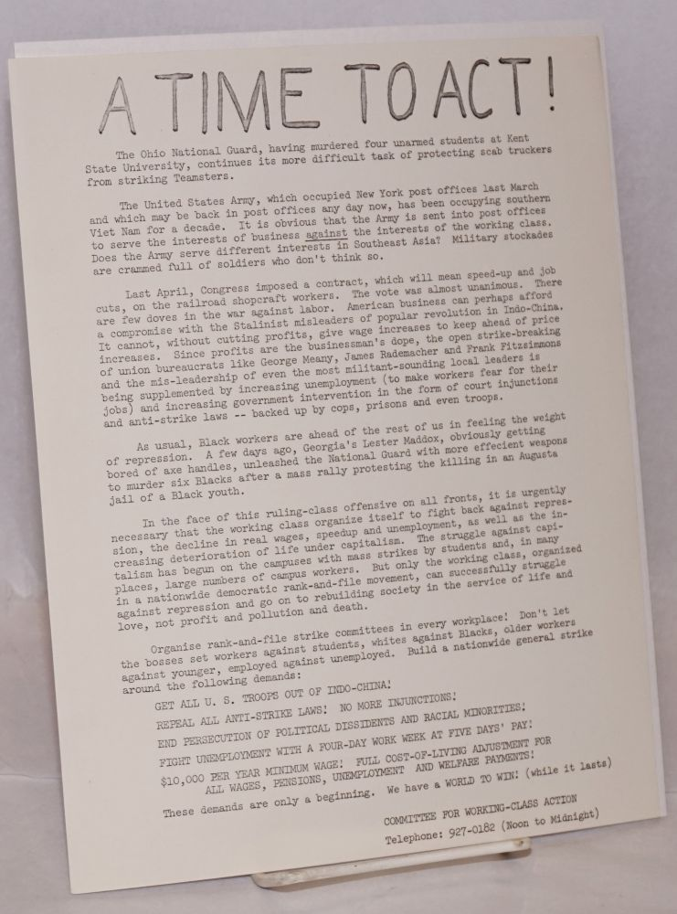 A time to act! [handbill]. Committee for Working-Class Action.