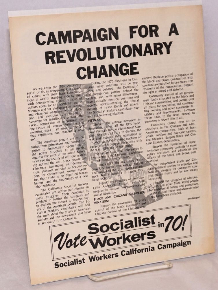 Campaign for revolutionary change. Vote Socialist Workers in 70! [handbill]. Socialist Workers Party.