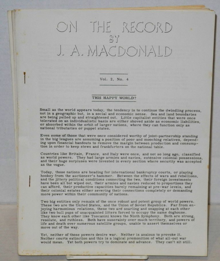 On the record [five issues]. J. A. MacDonald.
