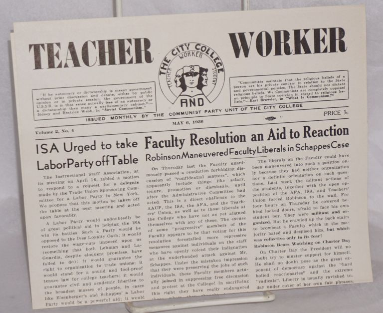 The City College Teacher [and] Worker; vol. 2, no. 4, May 6, 1936
