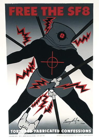 Free the SF8; tortured fabricated confessions (original silkscreen poster). Emory Douglas.