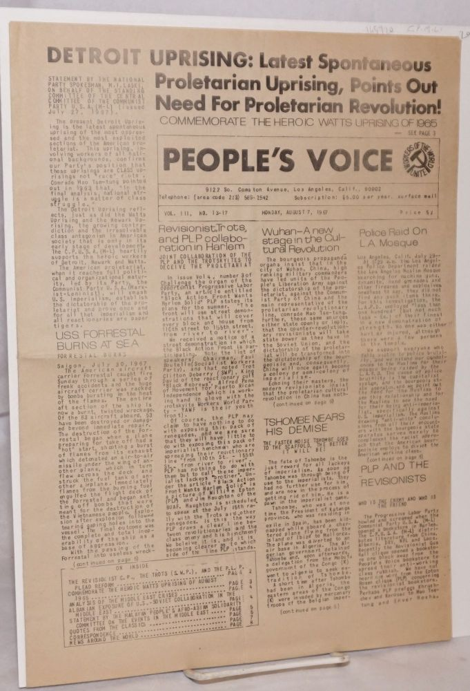 People's Voice vol. III, no. 13-17 [single issue of the newspaper]. Communist Party of the United States of America, Marxist-Leninist.