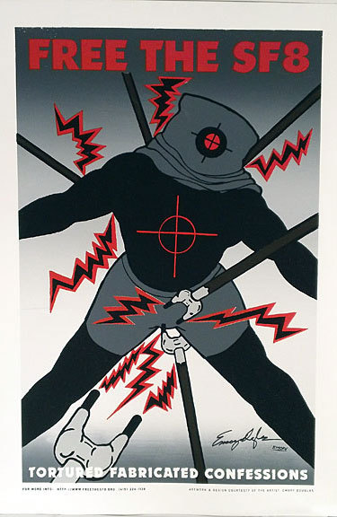 Free the SF8; tortured fabricated confessions [offset poster]. Emory Douglas.
