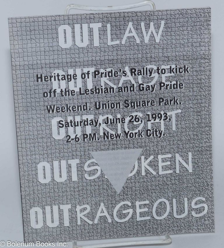 Heritage of Pride's Rally to kick off the Lesbian & Gay Pride Weekend, Union Square park, June 26, 1993, 2-6pm, New York City (official program)