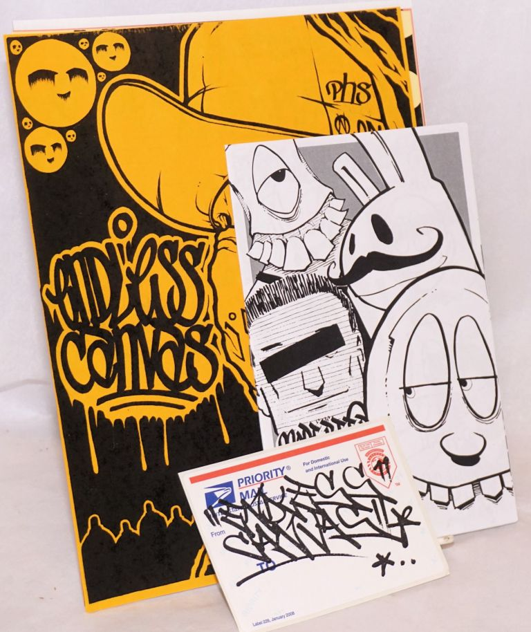Five 8.5x11 inch sheets reproducing works of graffiti art promoting Endless Canvas, together with issue 1.5 of the More Beer, less Work zine. Endless Canvas.