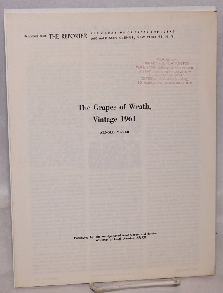 The Grapes of Wrath, vintage 1961. Arnold Mayer.