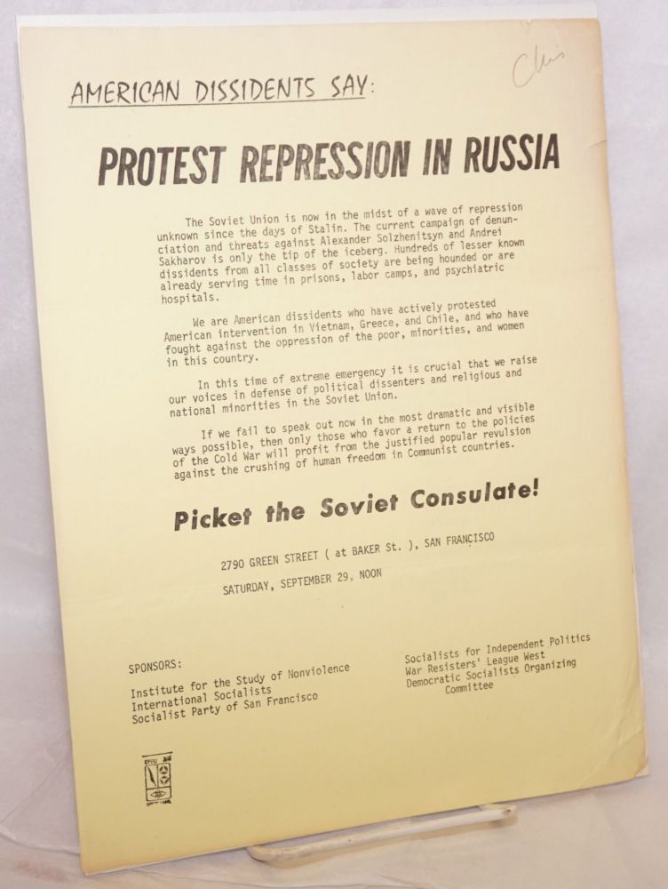 American dissidents say: Protest repression in Russia [handbill]