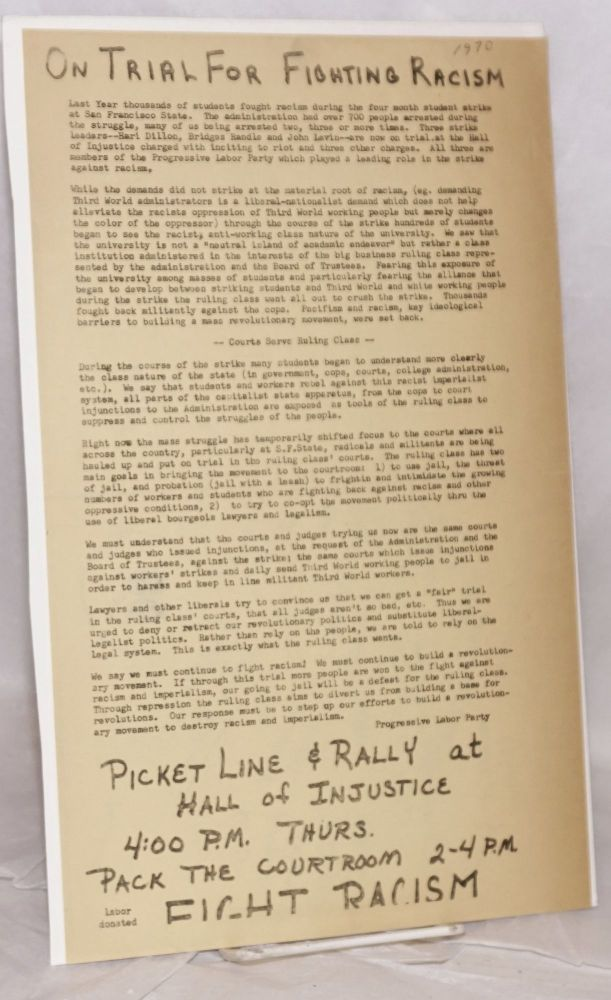 On trial for fighting racism [handbill]. Progressive Labor Party.