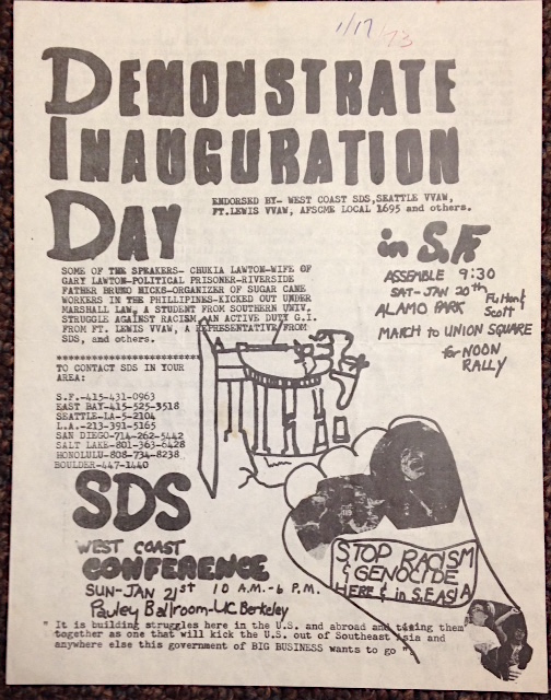 Demonstrate inauguration day [handbill]. Students for a. Democratic Society, SDS, Seattle Vietnam Veterans Against the War.