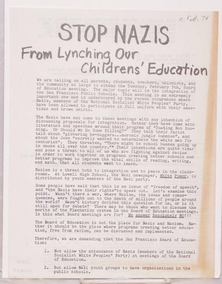 Stop Nazis from lynching our children's education [handbill]. Ad Hoc Committee Against Nazism and Racism.