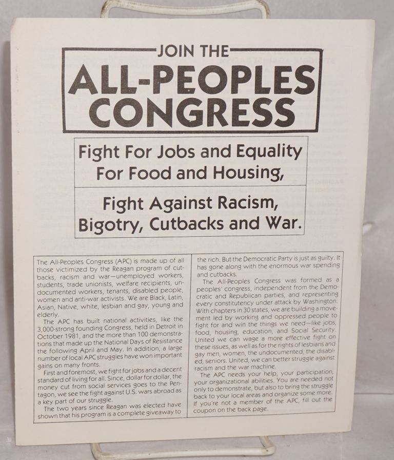 Join the All-People's Congress. Fight for jobs and equality, for food and housing, fight against racism, bigotry, cutbacks and war. All-People's Congress.