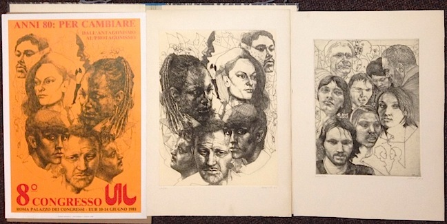 Two etchings and poster for 8th Congresso UIL. Ugo Attardi.