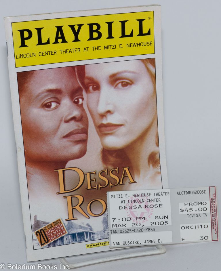 Dessa Rose; a new musical Playbill for the Lincoln Center Theater Production. Sherley Anne Williams.