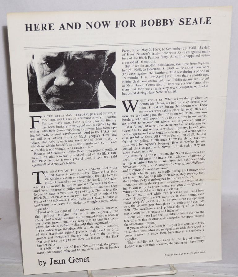 Here and Now for Bobby Seale [handbill]. Jean Genet, , Judy Oringer.