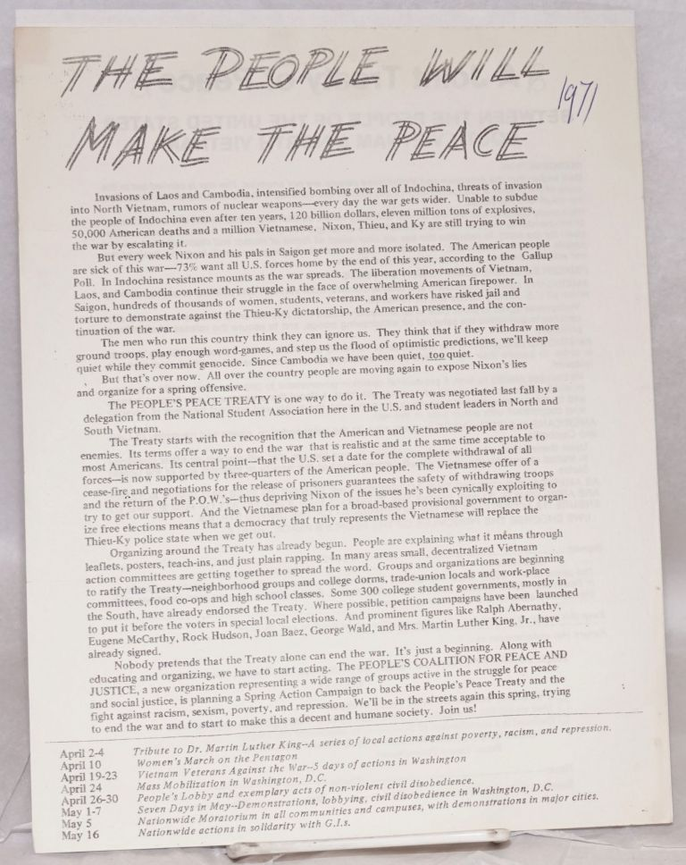 The people will make the peace [handbill]. People's Coalition for Peace and Justice.