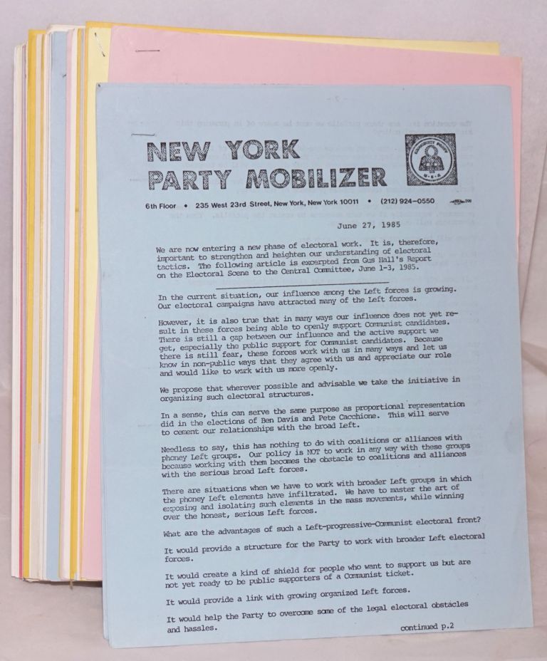 New York Party Mobilizer. [50 issues]. Communist Party of New York.