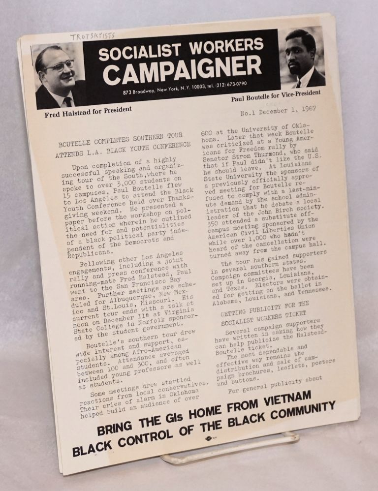 Socialist Workers Campaigner. No. 1 (Dec. 1 1967), no. 2 (January 6, 1968)