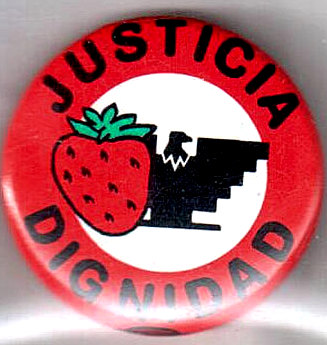 Justicia / dignidad [pinback button]. United Farmworkers Union.