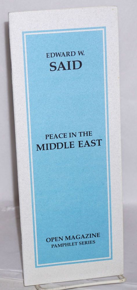 Peace in the Middle East. Edward Said.