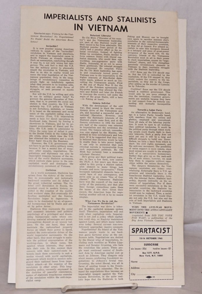 Imperialists and Stalinists in Vietnam [handbill]. Spartacist.