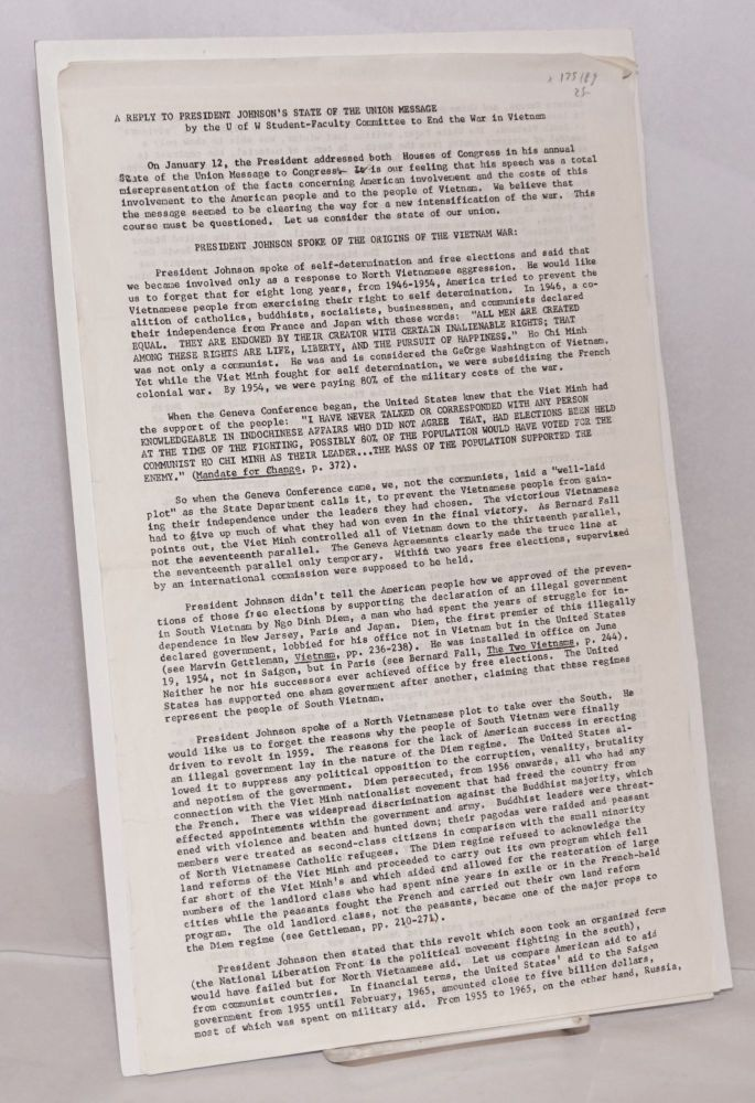 "The Crisis, vol. II no. 1 (Jan. 26, 1966); with ""A reply to President Johnson's state of the union message"" Committee to End the War in Vietnam, U. of W. Student-Faculty Committee to End the War in Vietnam."