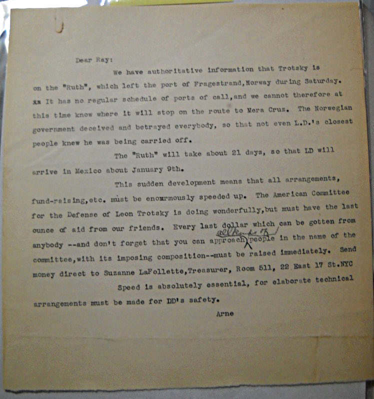 [Typed letter on Trotsky's unexpected deportation from Norway to Mexico aboard the tanker Ruth]. Swabeck, Arne.