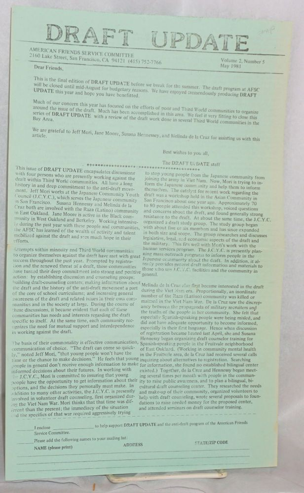 Draft Update volume 2, number 5, May 1981. American Friends Service Committee.