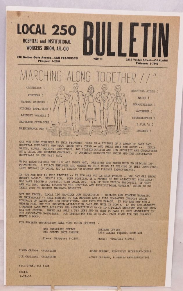 Local 250 Hospital and Institutional Workers Union, AFL Bulletin. June 27, 1957