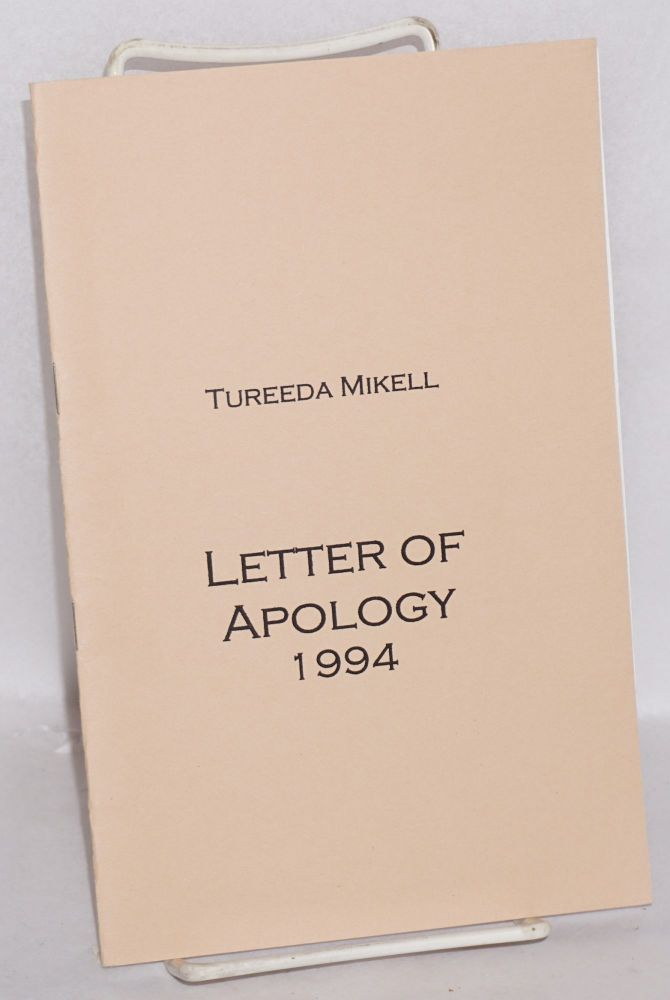 Letter of apology 1994. Tureeda Mikell.