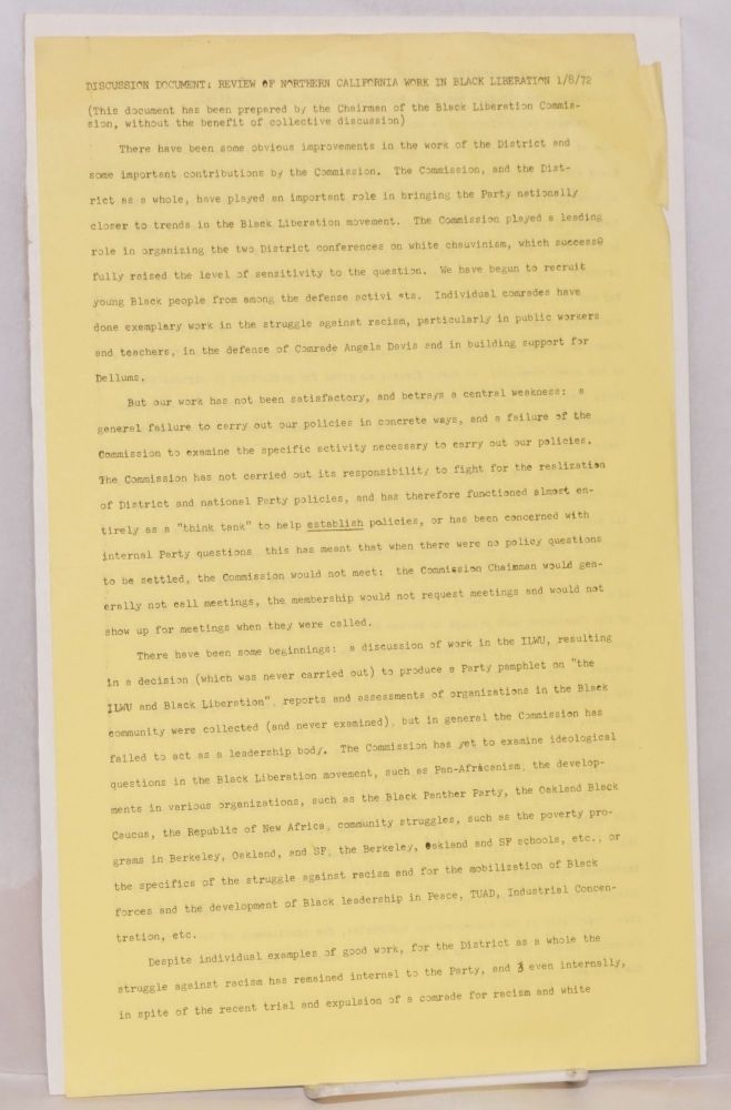 Discussion document: review of Northern California work in Black liberation 1/8/72. Communist Party USA.