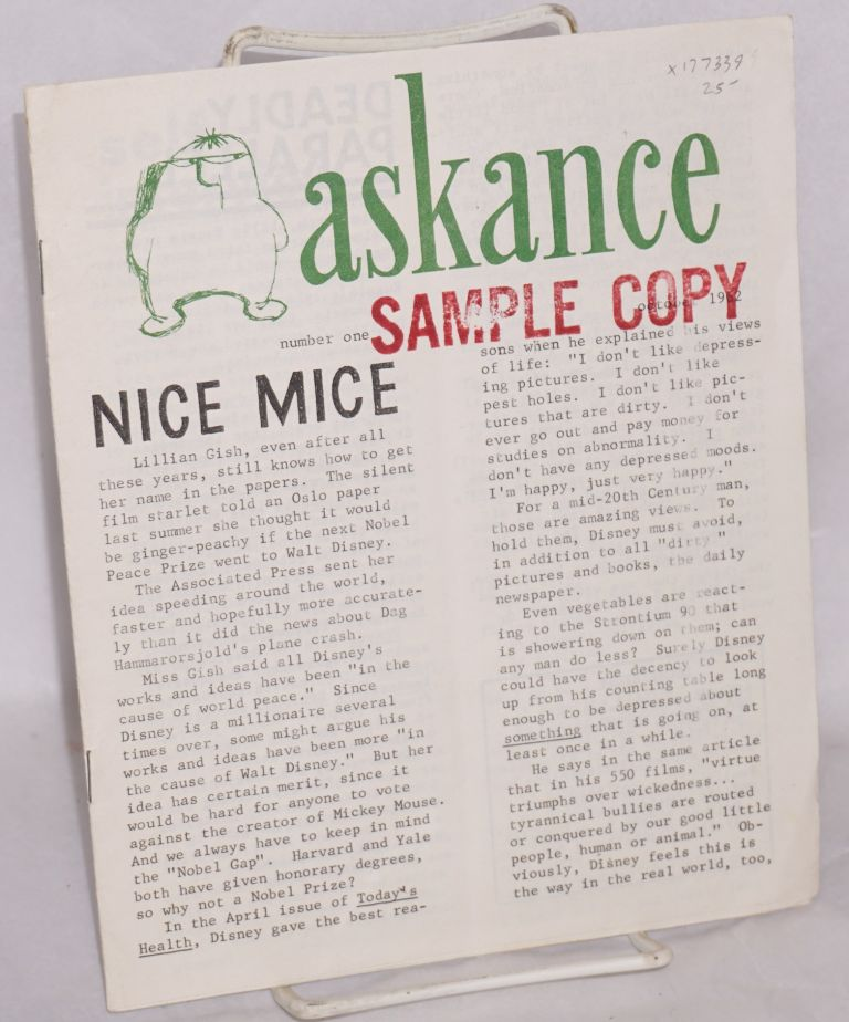Askance, no. 1, October, 1962. John D. Stevens, ed.