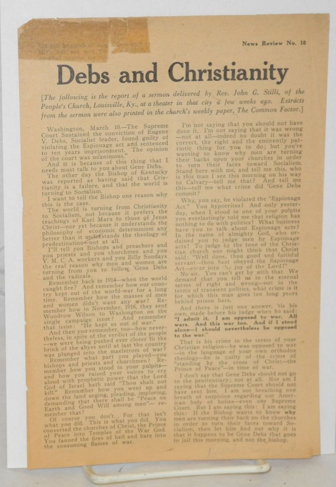 Debs and Christianity. John G. Stilli.