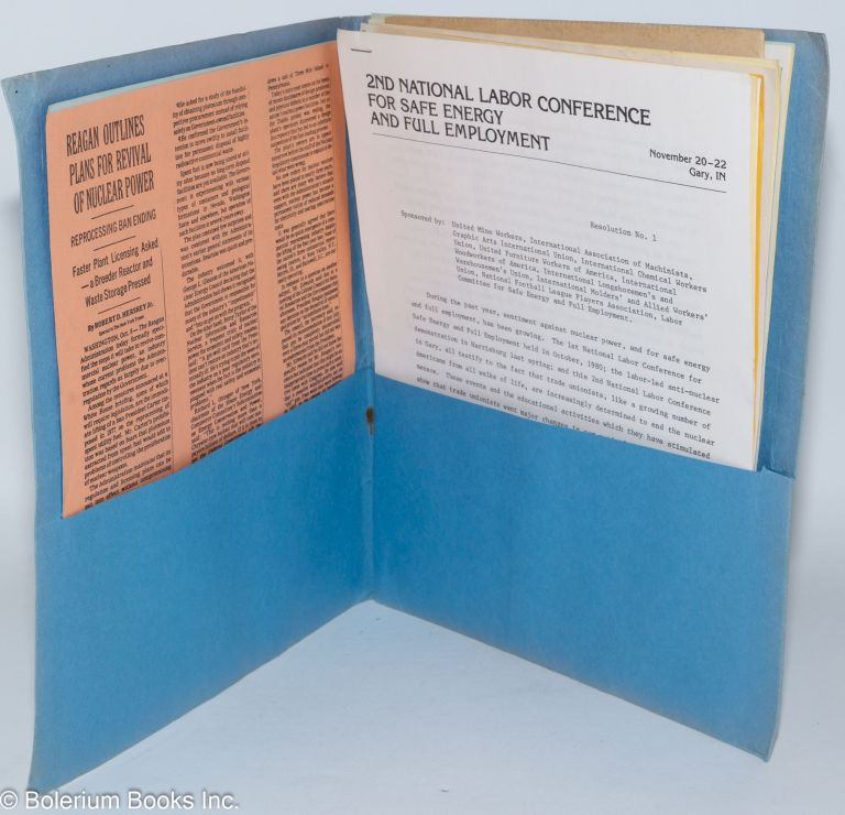 Second National Labor Conference for Safe Energy and Full Employment [packet of maetrials]