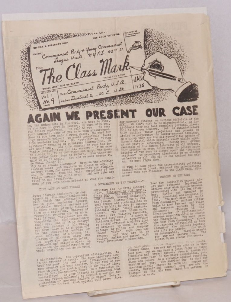 The class mark, vol. 1, no. 9, January, 1936. Communist Party, NYPL Young Communist League Units.