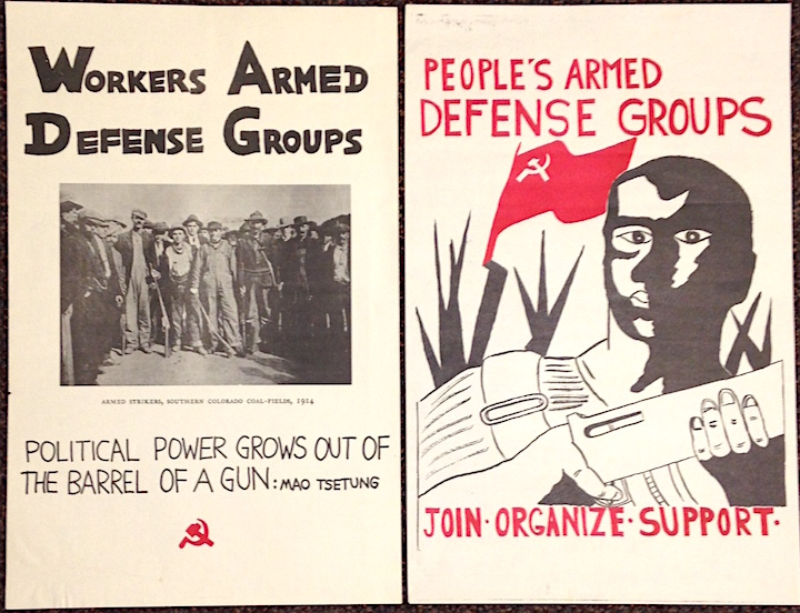 Workers armed defense groups [together with] People's armed defense groups [two posters]. Marxist-Leninist Party.