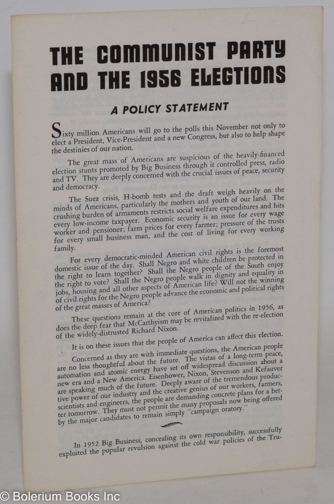 The Communist Party and the 1956 elections. Communist Party of California.