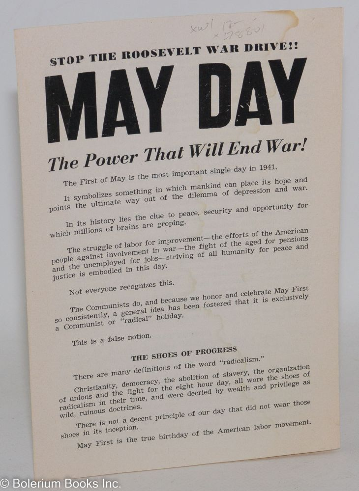 Stop the Roosevelt war drive!! May Day, the power that will end war! Communist Party of California.