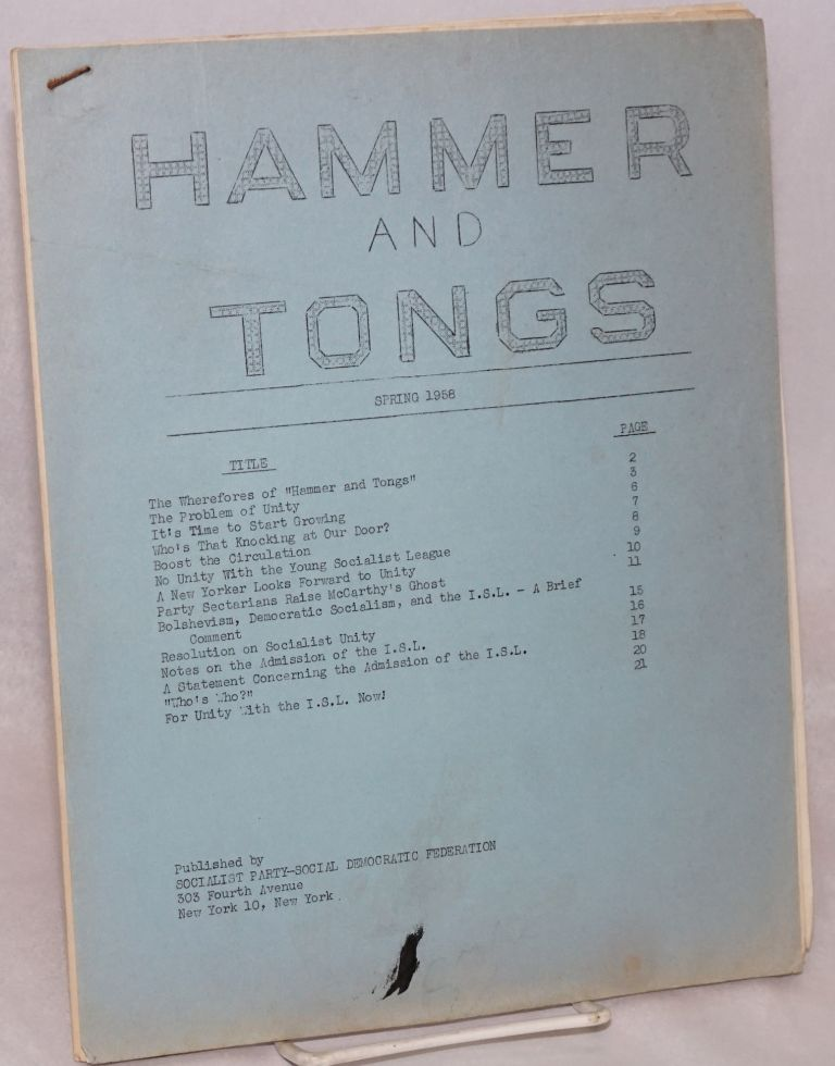 Hammer and Tongs. Spring 1958. Socialist Party - Social Democratic Federation.