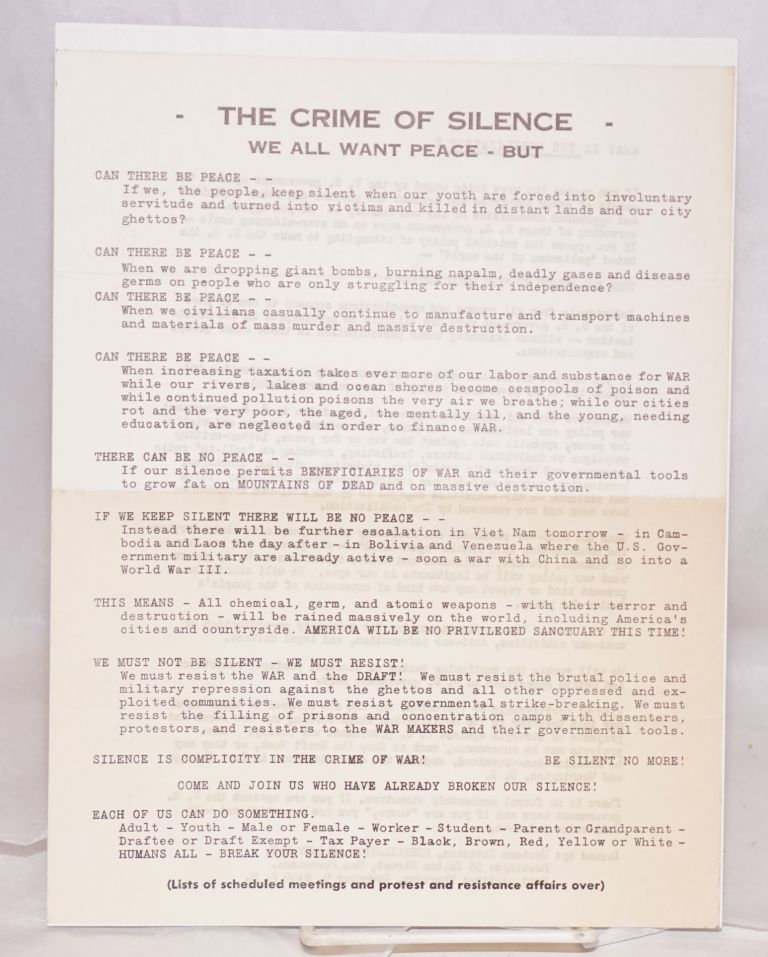 The crime of silence. We all want peace - but... [handbill]. Mobilization Against War Western Division.