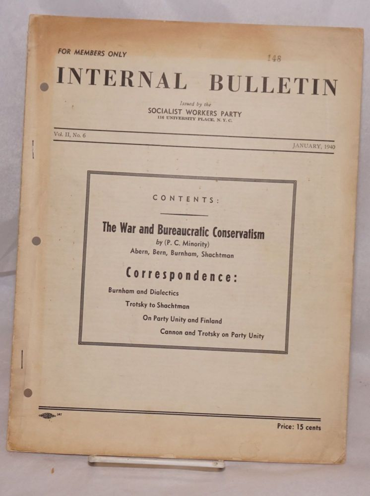 Internal bulletin, vol. 2, no. 8, January, 1940. Socialist Workers Party.