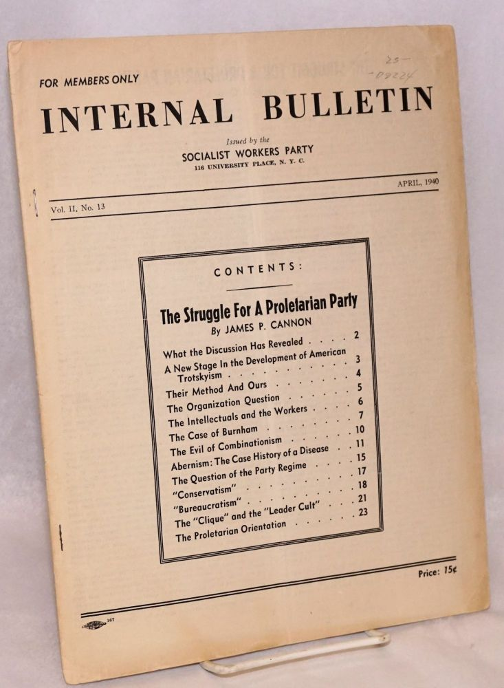 Internal bulletin, vol. 2, no. 13, April, 1940. Socialist Workers Party.