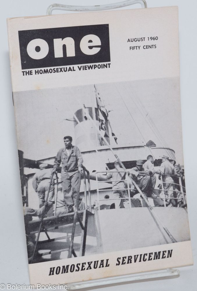 One magazine; the homosexual viewpoint; volume eight number 8 August 1960. Don Slater, William Lambert, Lyn Pedersen, Richard Rand, Paul Marc.