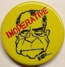 Inoperative. [pinback button]. Political Rights Defense Fund, Jules Feiffer.