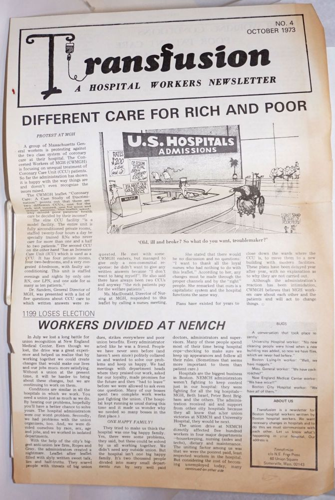Transfusion: a hospital workers newsletter. No. 4 (Oct. 1973)
