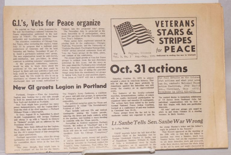 Veterans Stars and Stripes for Peace. Vol. 3, no. 3 (Aug-Sept., 1970)