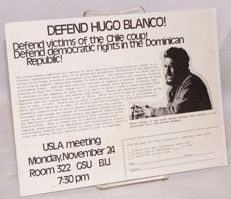 Defend Hugo Blanco! Defend victims of the Chile coup! Defend democratic rights in the Dominican Republic! [handbill]
