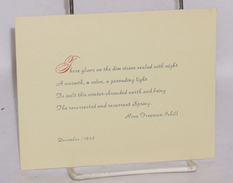 There Glows on the Dim Vision Sealed with Night... [poem card]. Rose Freeman-Ishill.
