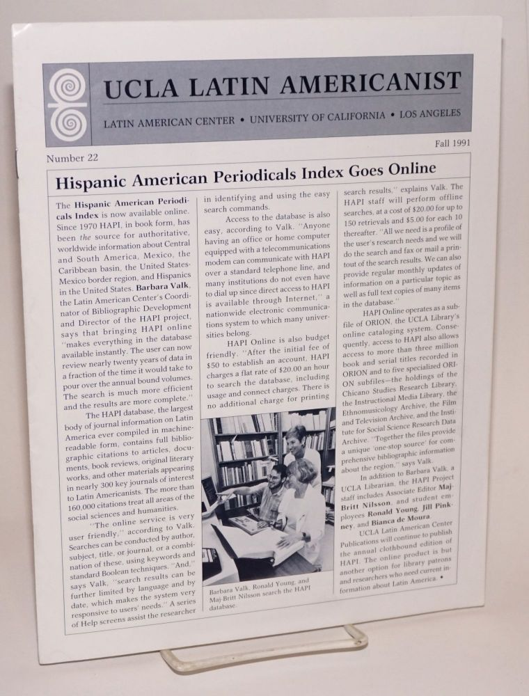 UCLA Latin Americanist: number 22, Fall 1991